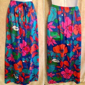 NWT Vintage Psychedelic Floral Maxi Skirt